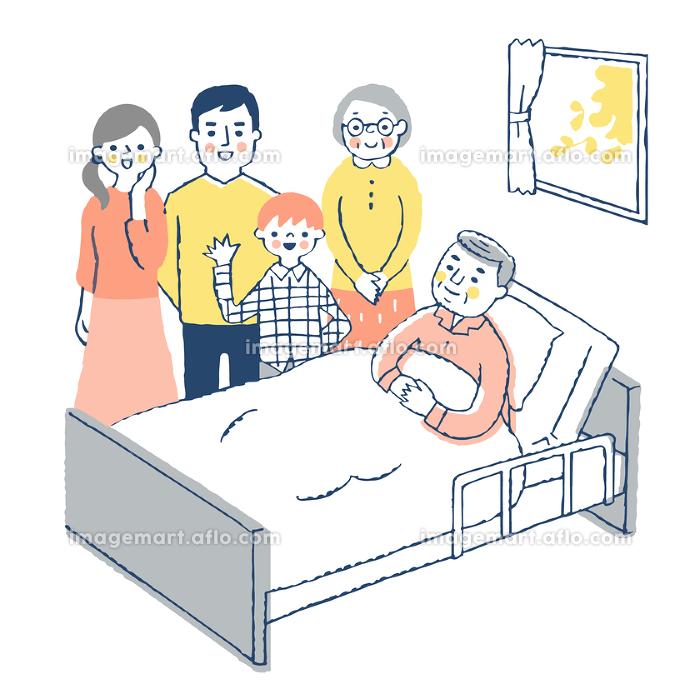 ベッドにいるおじいちゃんと家族の販売画像