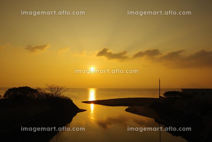 河口からの有明海の朝日の販売画像