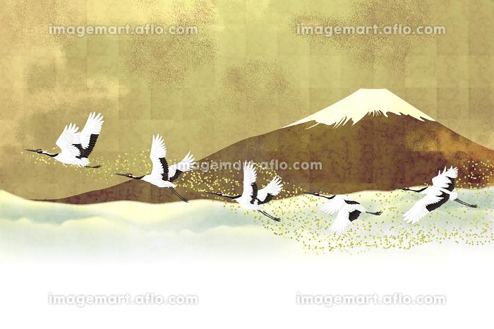 富士山と丹頂鶴 イラストの販売画像