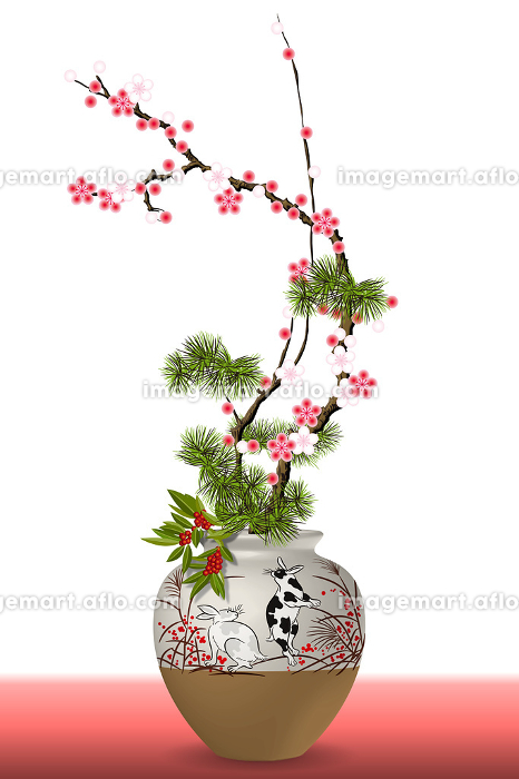 うさぎの絵柄の花瓶と梅の花 イラストの販売画像