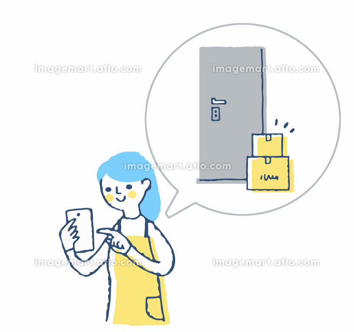 配送の置き配を申し込む女性の販売画像