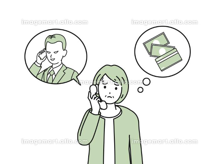 振り込め詐欺 オレオレ詐欺 電話 年配の女性 イラスト素材の販売画像