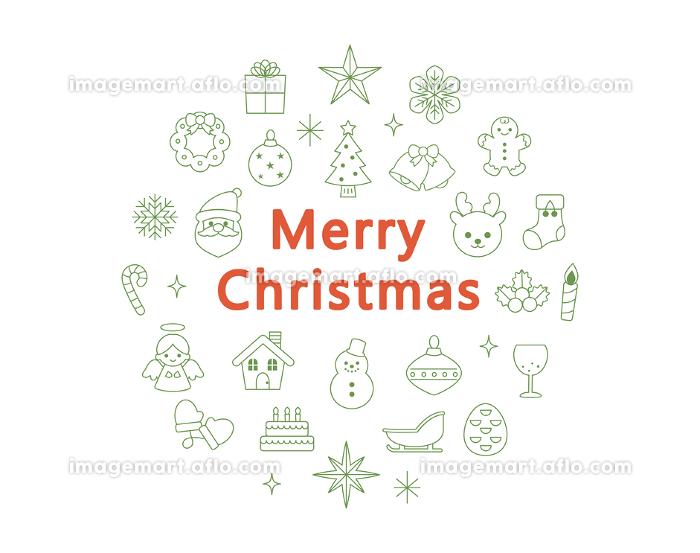 クリスマス アイコンセット 線画 緑色の販売画像