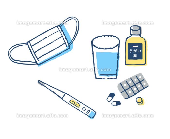 マスクと体温計とうがい薬
