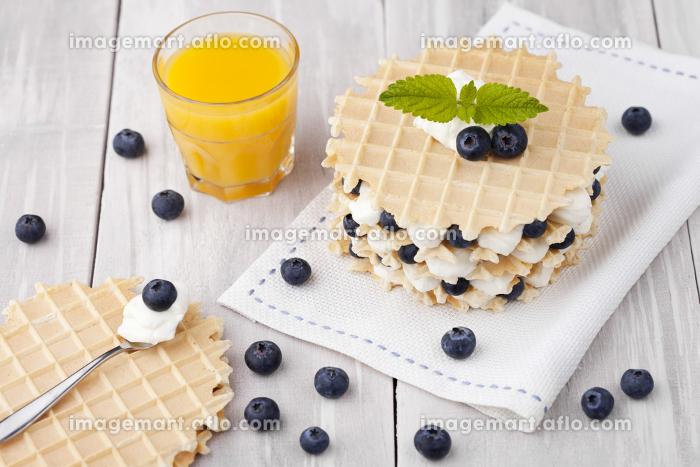 waffle with blueberryの販売画像