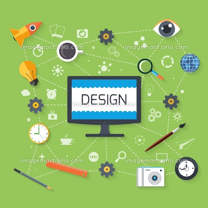 Concept in flat design for web design and development with monitor surrounded tools, idea, search and email pictograms