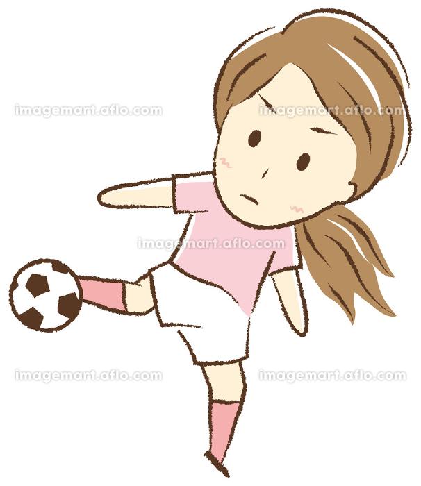サッカーをする女の子 ボレーシュートの販売画像