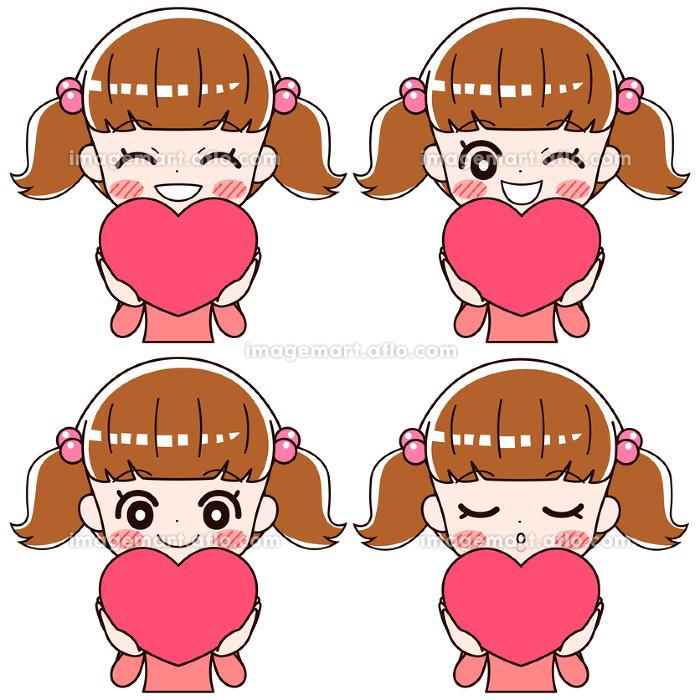 ハートの形を持って幸せそうに笑う女の子の4つの表情のセットの販売画像