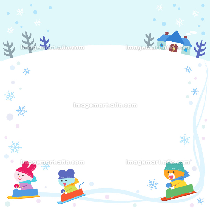 ソリあそびをするクマ・ウサギ・ネズミ/フレームの販売画像
