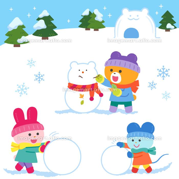 雪あそびをするクマ・ウサギ・ネズミ/セットの販売画像