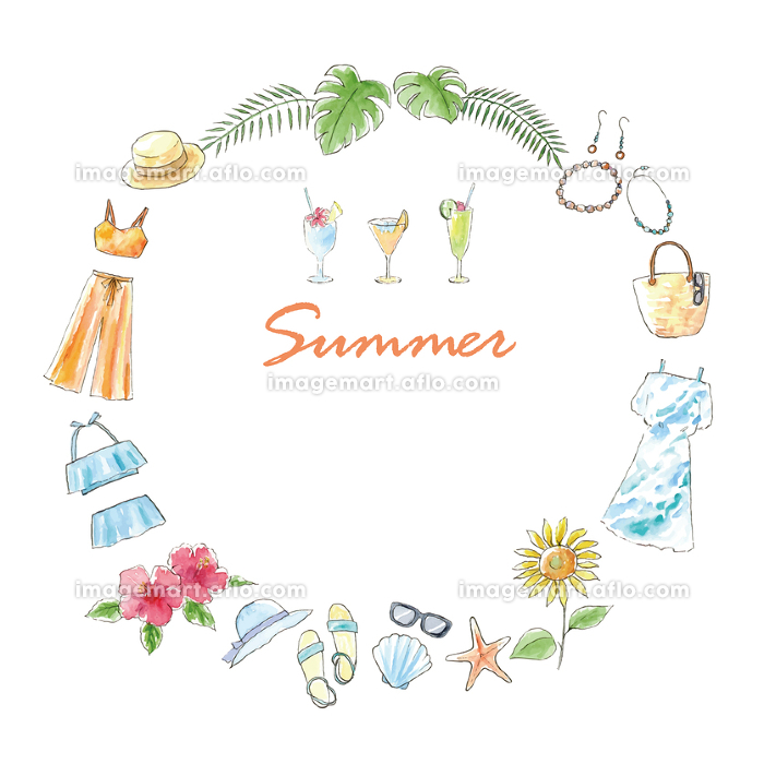 水彩イラスト 手描き ファッション 夏 フレームの販売画像