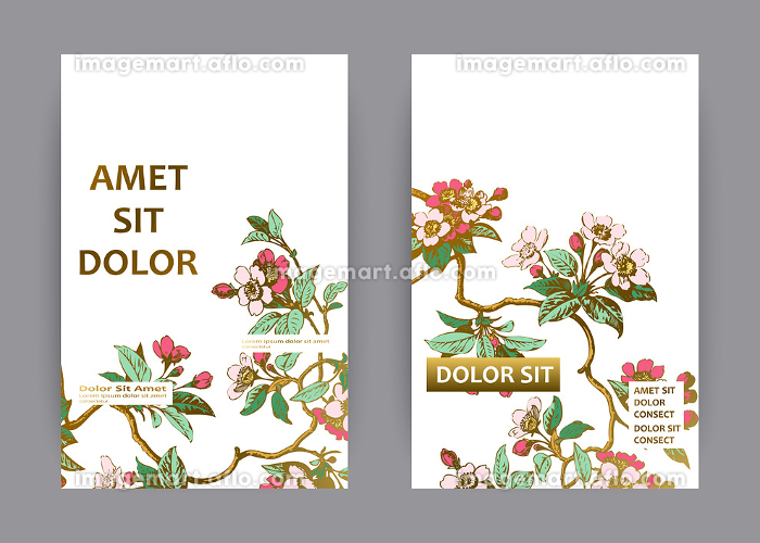Botanical wedding invitation card template design, hand drawn sakura flowers and leaves on branches, vintage rural cherry blossom on white gold background, retro style pastel color vector illustration