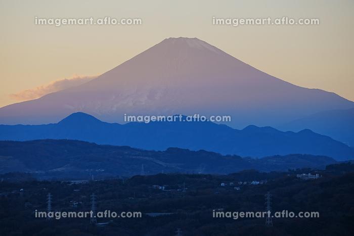 湘南平からの富士山の夕景の販売画像