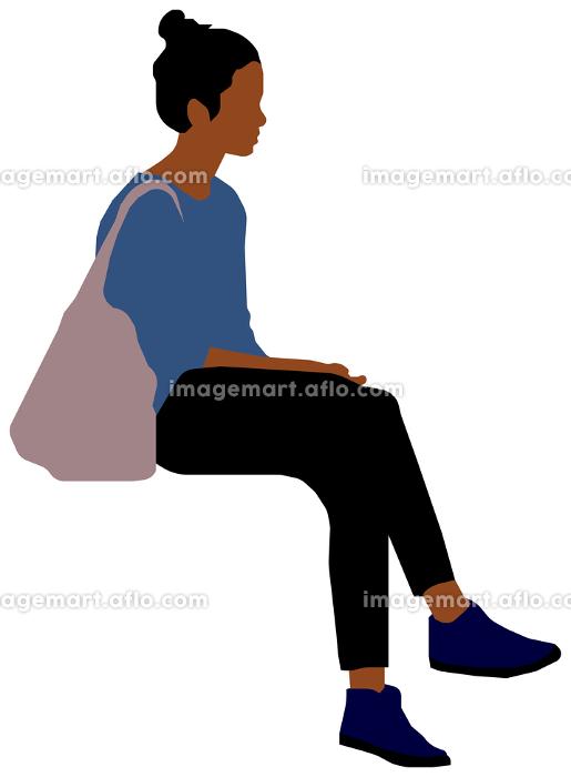座っている人物・ 全身シルエットイラスト (女性・黒人)の販売画像