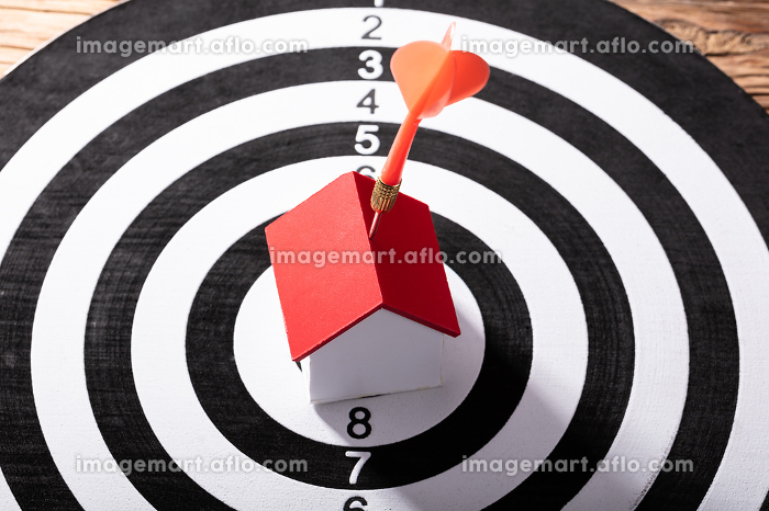 Dart Arrow Hitting House Model On Dartboardの販売画像