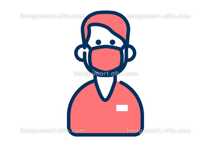 マスクをした男性の医療従事者のシンプルなデザインのイラストの販売画像