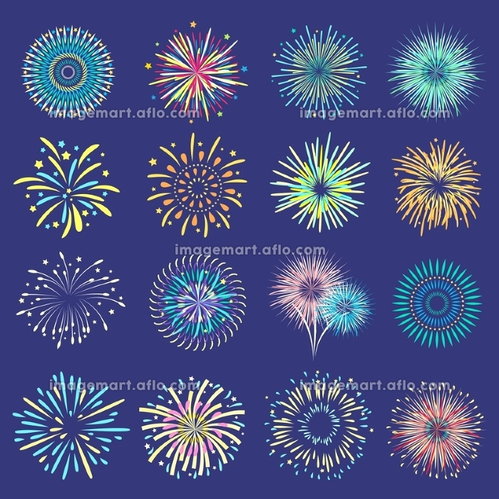 Festive Balls On Dark Blue Background . Brightly festive isolated firework bursts in ball form on dark blue background flat vector illustration