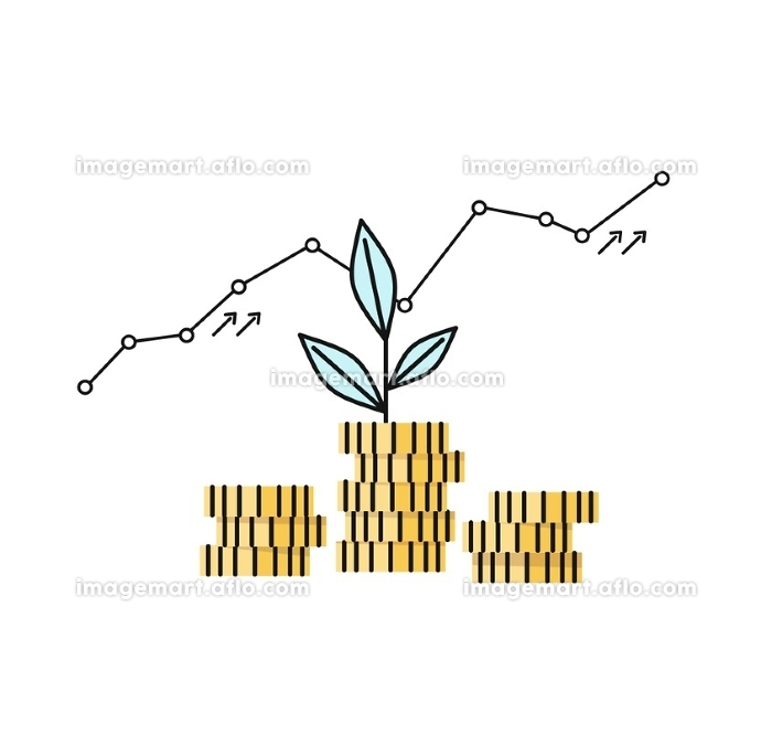 Financial Growth Coin Stock Market. Financial growth coin stock market. Successful graph of profit growth and cash investments in startups. Metaphor of the plants sprout in the column of gold coins. Invest progress vector illustration