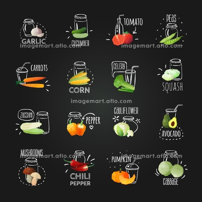 Chalkboard Vegetables Emblem Set. Vegetables chalkboard set of isolated image compositions with hand drawn style text descriptions and fruit image vector illustration