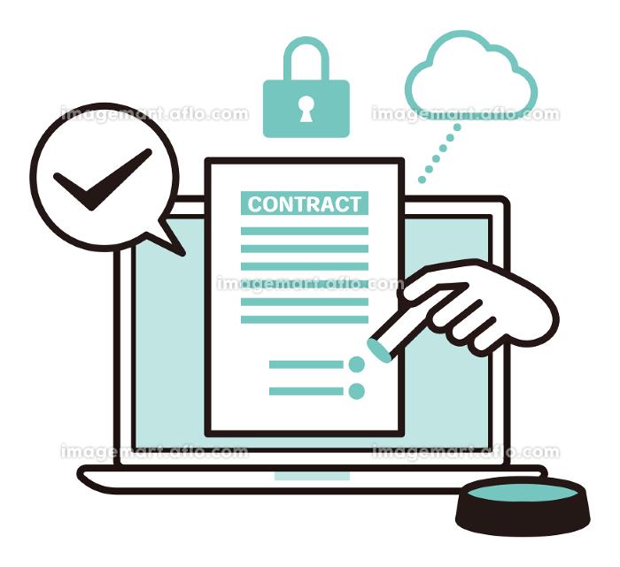 安全性の高いクラウドに繋げたノートパソコンで書類に電子印鑑を押印するイラストの販売画像