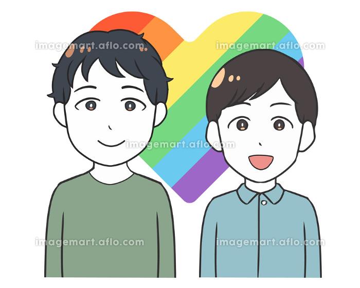 同性愛カップル ゲイ 虹色ハートの販売画像