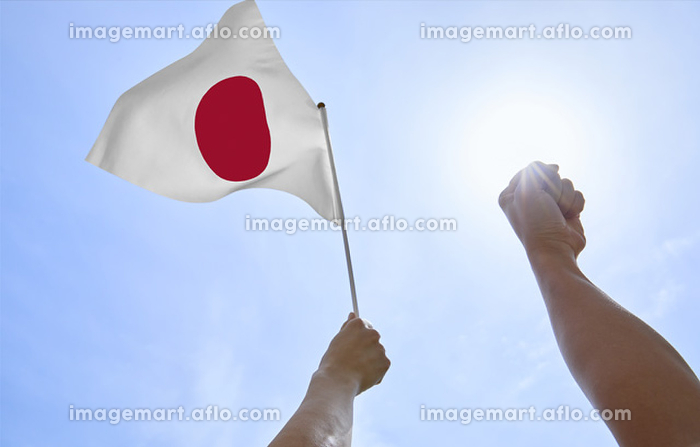 日本国旗を持つ手の販売画像