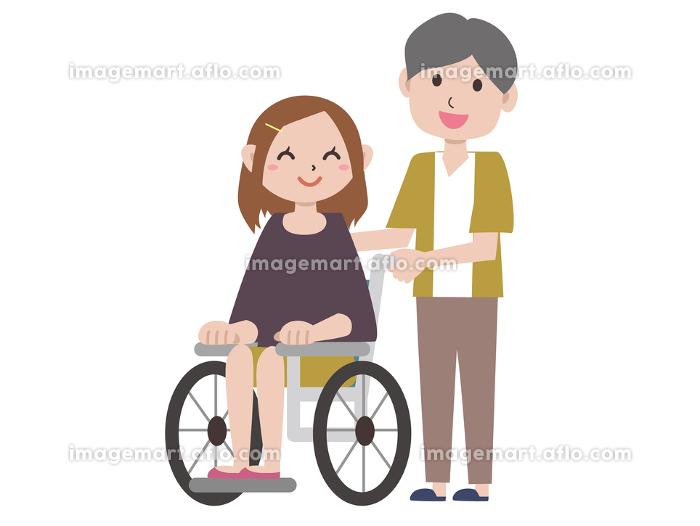 車椅子の若い女性と男性の販売画像