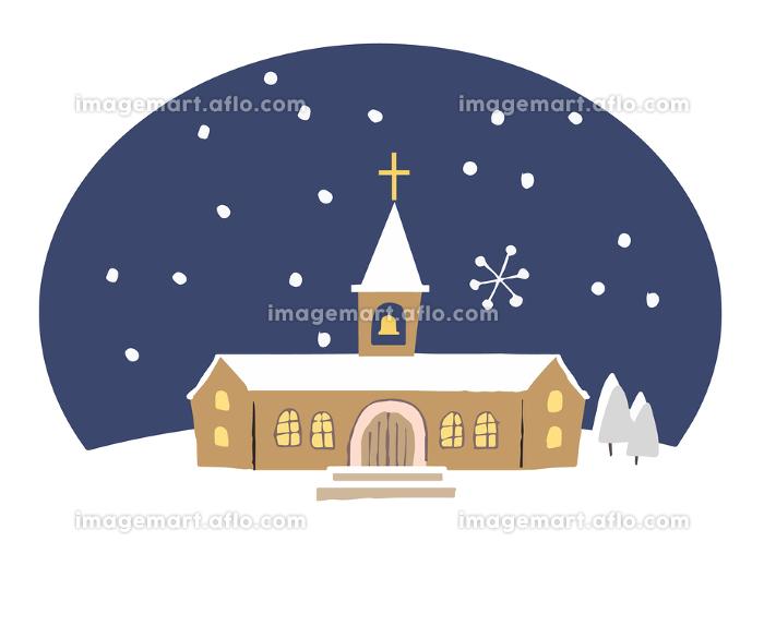 教会と雪の販売画像