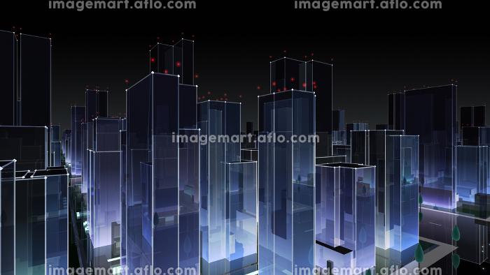 都市 夜 街 ビル 建物 シティ オフィスビル ビジネス街 オフィス街 3D イラスト 背景 バックの販売画像
