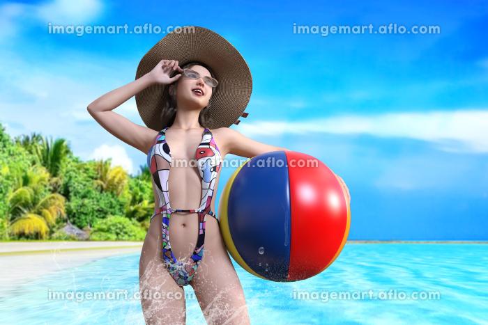 ビーチボールを持った麦わら帽子をかぶった水着の女性が綺麗な青い南国の海に入るの販売画像