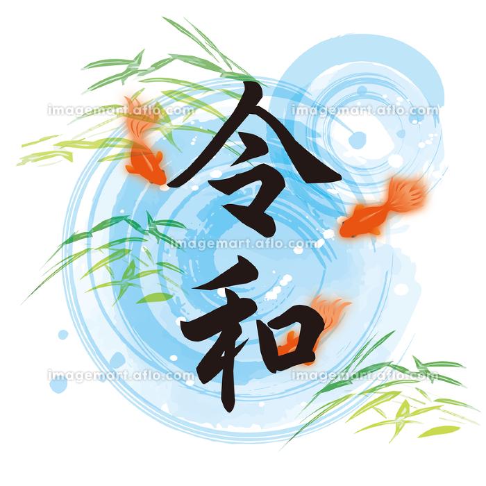 夏の涼しげな水彩の金魚イラストの販売画像