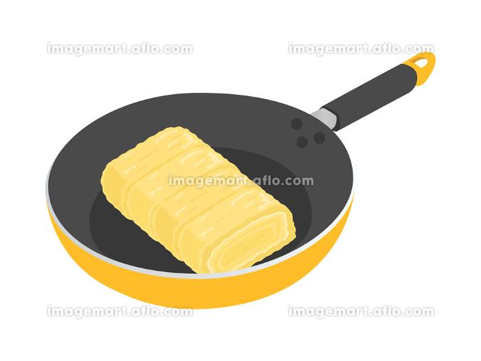 フライパンで卵焼きを料理するイラストの販売画像