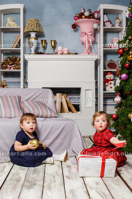 The two little girls sitting at studio with christmas decorationsの販売画像