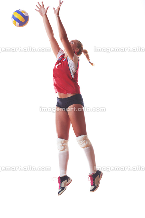 volleyball woman isolated on white backgroundの販売画像