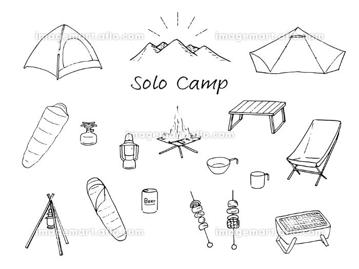 ソロキャンプ道具 線画 セットの販売画像