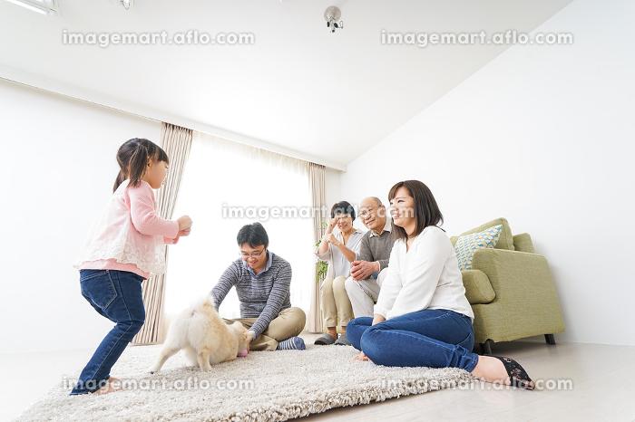 3世代の幸せなファミリーの販売画像