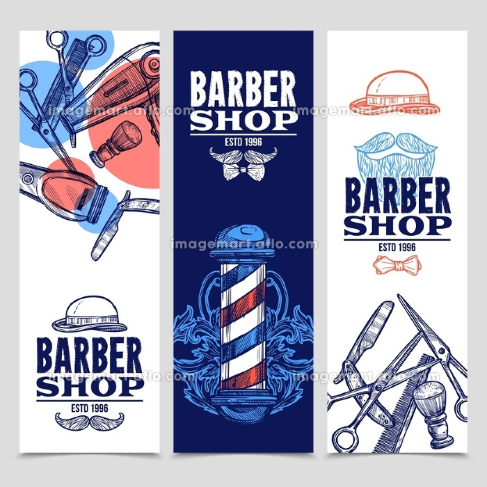 Barber Shop 3 Vertical Banners Set . Barber shop 3 vertical flat banners set with beard mustache emblem and tools red blue abstract vector illustration