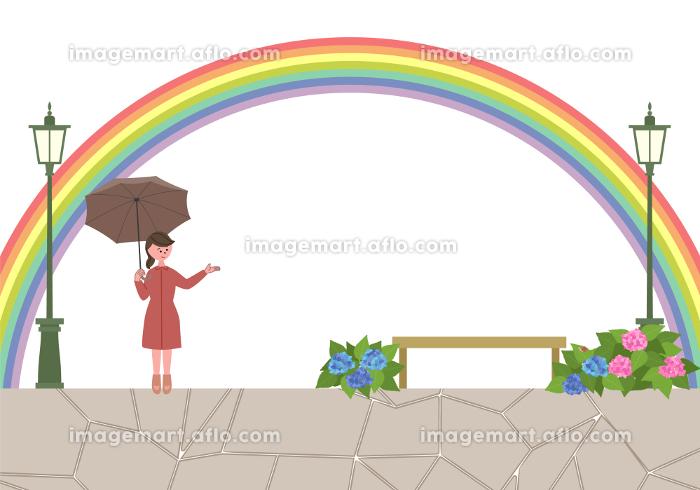 雨上がりの街並み 傘をさしている女性のイラストの販売画像