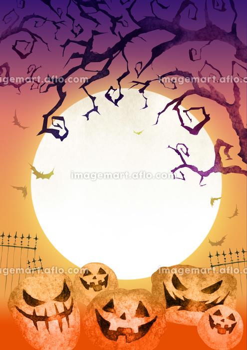 ハロウィン ハロウィーン 背景 カード 水彩 イラストの販売画像