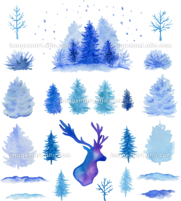 Set of blue hand drawn vector watercolor Christmas design elements on a white background.