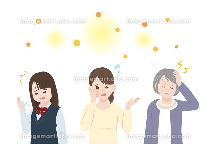 花粉症に困る女性達 アレルギー イラスト素材の販売画像