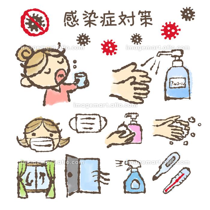 感染症対策イラスト 手洗い・アルコール消毒・体温計・マスク・換気・うがい 新型コロナウィルスの販売画像