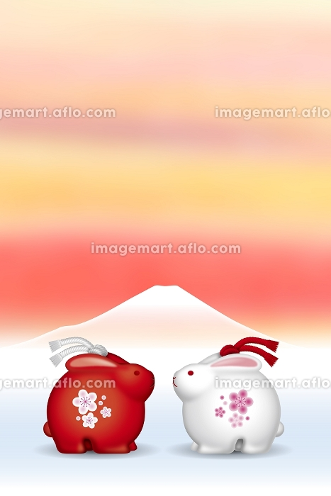 うさぎの土鈴と富士山 イラスト