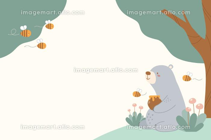 クマとミツバチの春向き背景素材の販売画像