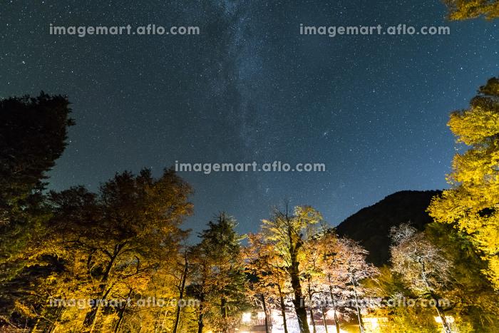上高地徳沢の天の川と紅葉の販売画像