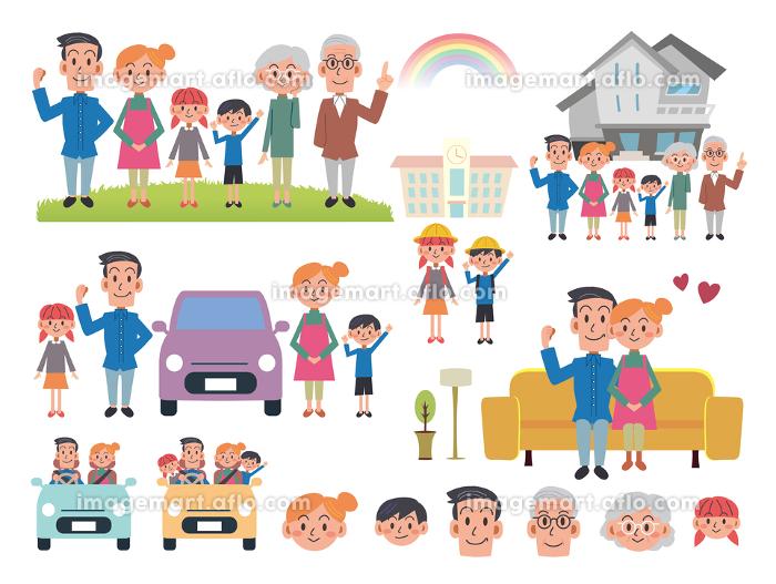 3世代 大家族イラスト素材の販売画像