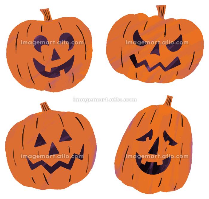 ジャックオーランタン おばけかぼちゃ かぼちゃ 4つ イラストの販売画像