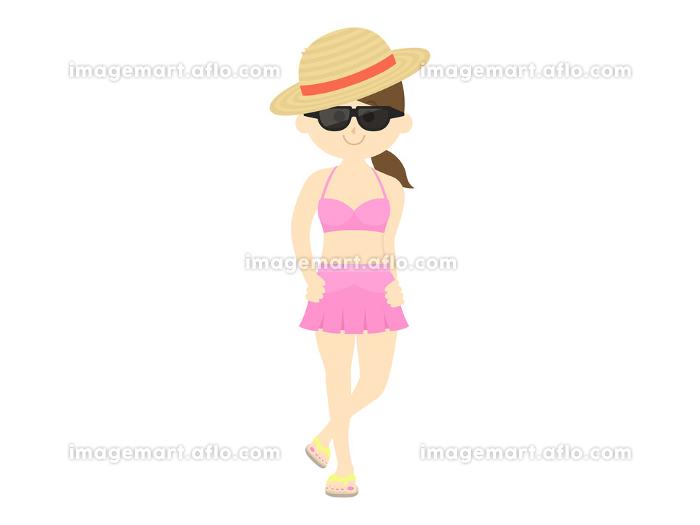 麦わら帽子をかぶった水着女性のイラストの販売画像