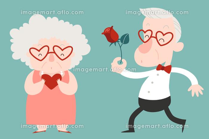 幸せな高齢カップル、男性から女性にバラを贈るイラストの販売画像