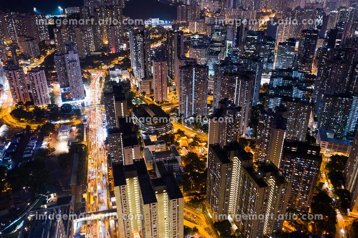 Top view of Hong Kong building at night